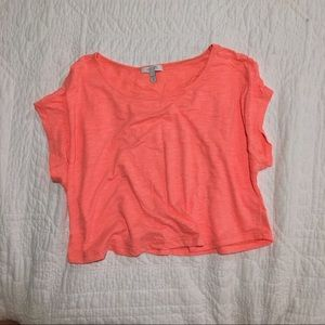 Bright coral crop top